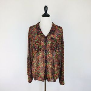 Free People Button Down Top Size Large Floral